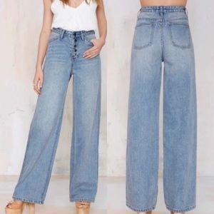 NWT Nasty Gal The Wide Strider High Waist Jeans